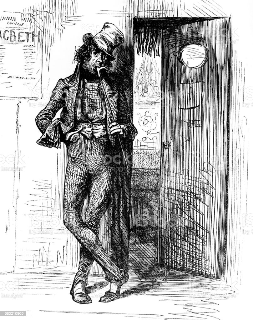Dickens Sketches by Boz - man by stage door at Macbeth theatre vector art illustration