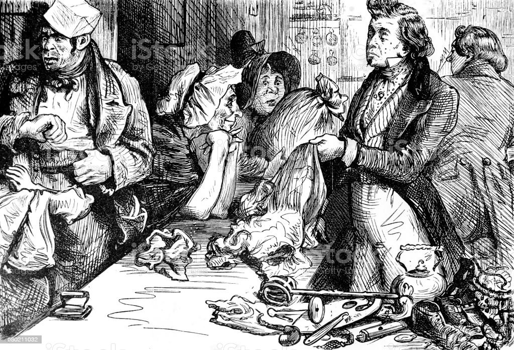 Dickens Sketches by Boz - poor people selling at pawn shop vector art illustration