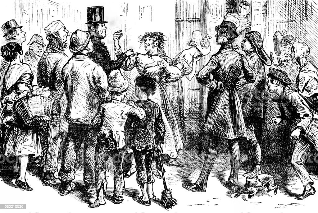 Dickens Sketches by Boz - street scene with woman at centre vector art illustration