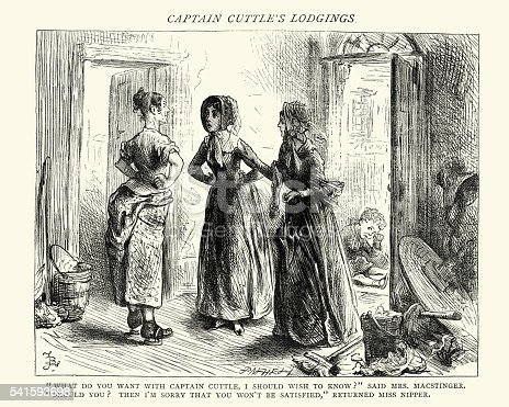 Vintage engraving of a scene from Charles Dickens's Dombey and Son. What do you want with Captain Cuttle, I Should wish to know ?