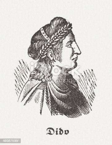 Dido was, according to Greek mythology, the founder and first Queen of Carthage. Wood engraving, published in 1864.