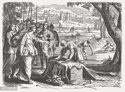 Dido purchases Land for the Foundation of Carthage. Woodcut engraving after an etching (from Historische Chronica Frankfurt, 1630) by Mathias Merian the elder (Swiss-German engraver and publisher, 1593 - 1650), published in 1864.