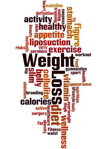 Dieta y pérdida de peso, concepto de nube de word 4 - ilustración de arte vectorial