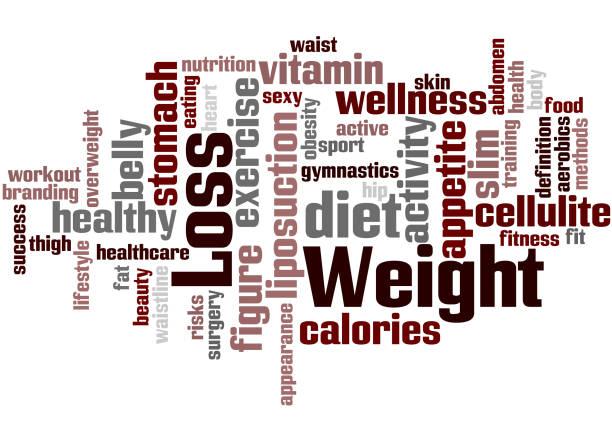 Dieta y pérdida de peso, concepto de nube de word 5 - ilustración de arte vectorial
