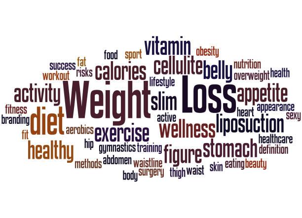 Dieta y pérdida de peso, concepto de nube de word 8 - ilustración de arte vectorial
