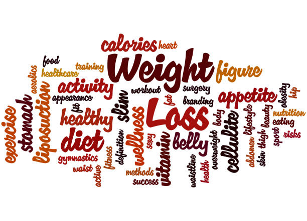 Dieta y pérdida de peso, concepto de nube de word 9 - ilustración de arte vectorial