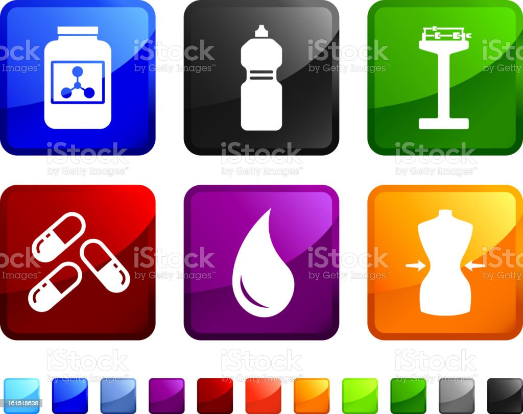 Diet Supplements royalty free vector icon set stickers royalty-free stock vector art