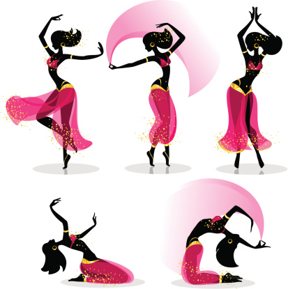 Different belly dancers poses and motions