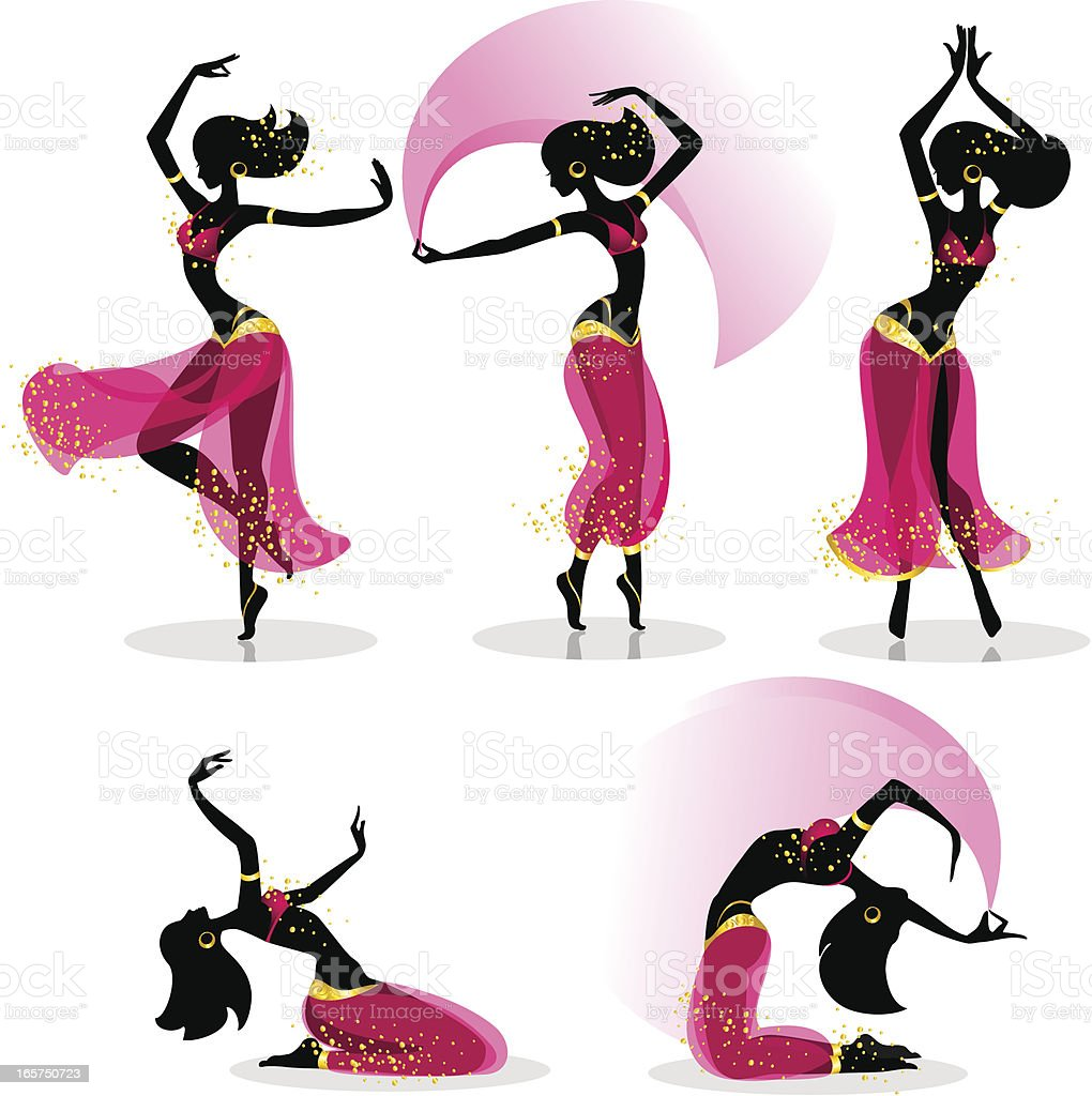 Different belly dancers poses and motions vector art illustration