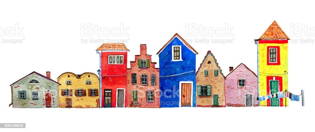 ilustração de diferentes velhas pedra europeus casas coloridas na