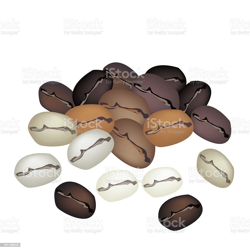 Different Colors of Coffee Beans Stack on White Background royalty-free stock vector art