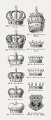 Different forms of crowns, wood engravings, published in 1897
