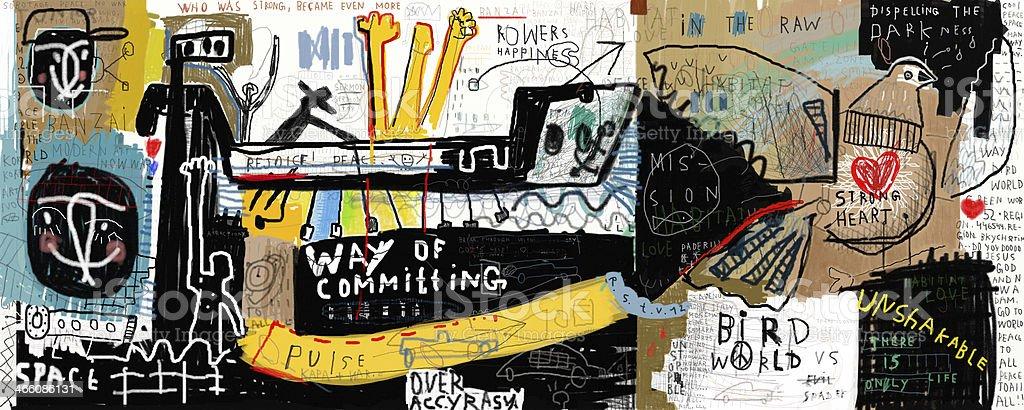 Different graffiti art on a wall vector art illustration