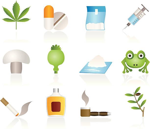 stockillustraties, clipart, cartoons en iconen met different kind of drug icons - amfetamine