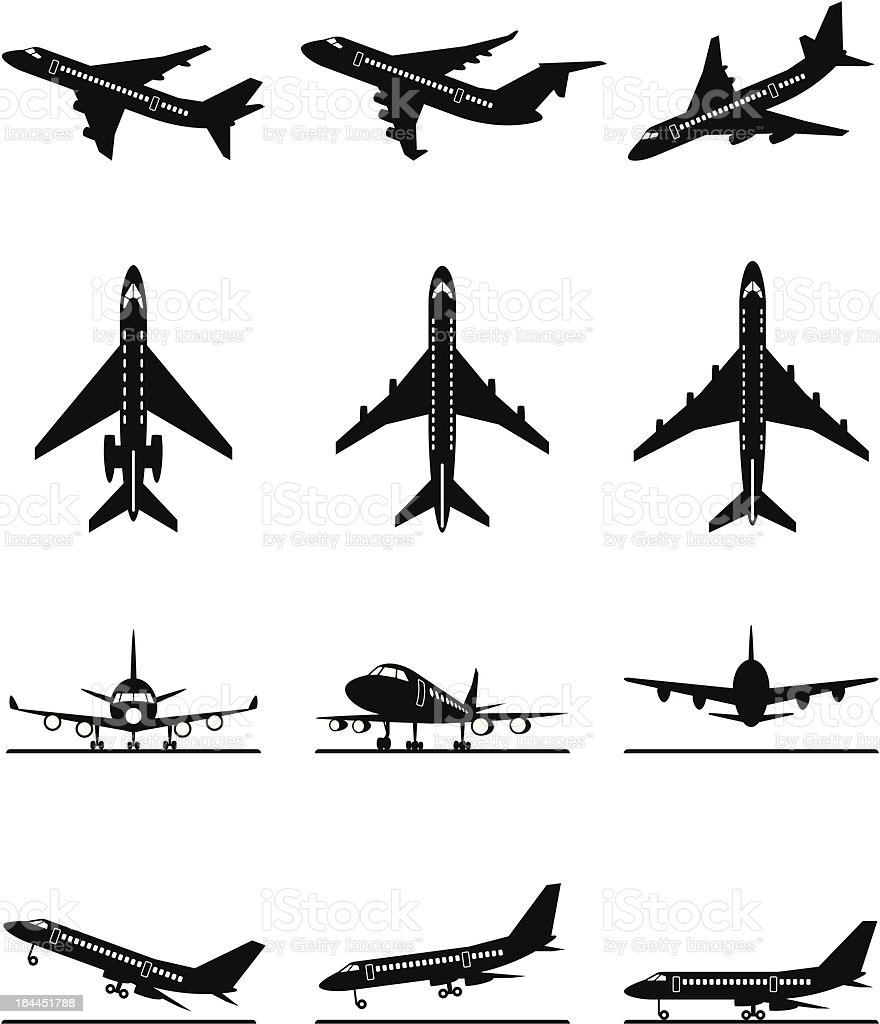 Different passenger aircrafts in flight vector art illustration