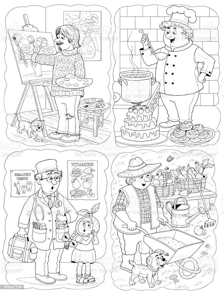 Farkli Meslekler Cocuklar Icin Illustration Boyama Sayfasi Komik