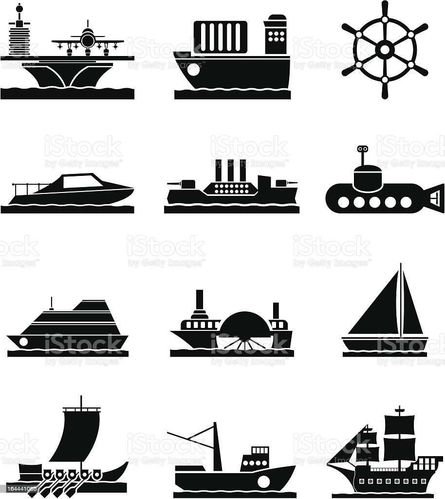 different types of boat and ship icons vector art illustration