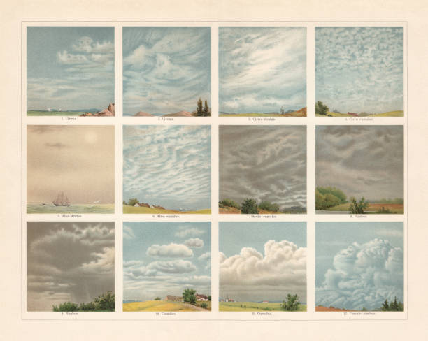 Different types of clouds in the atmosphere, chromolithograph, published 1898 Different types of clouds in the earth atmosphere: 1 - 2) Cirrus; 3) Cirrostratus; 4) Cirrocumulus; 5) Altostratus; 6) Altocumulus; 7) Stratocumulus; 8 - 9) Nimbus; 10 - 11) Cumulus; 12) Cumulonimbus. Chromolithograph, published in 1898. altocumulus stock illustrations