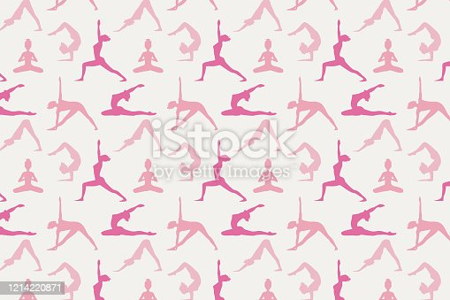 istock Different yoga poses. Background with female silhouettes 1214220871