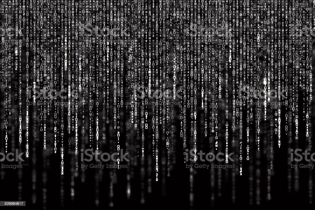 Digital Abstract background, black and white matrix vector art illustration