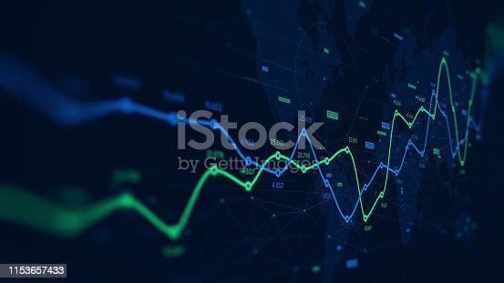 istock Digital analytics data visualization, financial schedule, monitor screen in perspective 1153657433