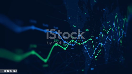 istock Digital analytics data visualization, financial schedule, monitor screen in perspective 1153657433