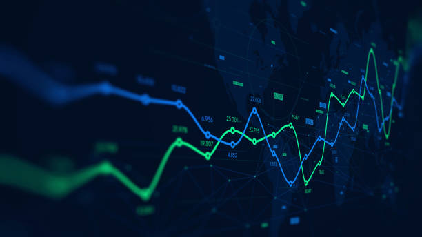 ilustraciones, imágenes clip art, dibujos animados e iconos de stock de visualización de datos de analítica digital, programación financiera, pantalla de monitor en perspectiva - inversión