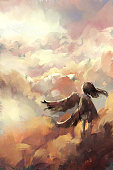 istock digital art painting of angel girl standing on the cloud, acrylic on canvas texture, storytelling illustration 1263768882