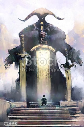 digital art painting of boy reading magic book in front of stone pedestal, acrylic on canvas texture, storytelling illustration