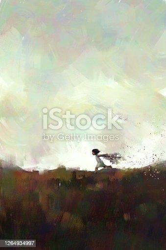 digital art painting of little girl running on meadow with sunset, acrylic on canvas texture, storytelling illustration, blank space canvas on top