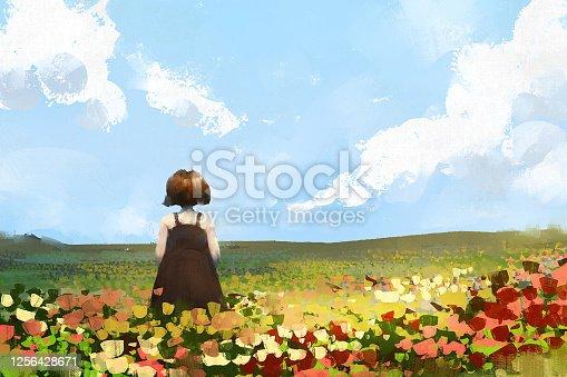 istock digital art painting set of Little girl on meadow, acrylic on canvas texture, storytelling illustration 1256428671