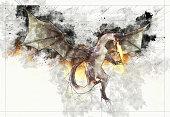 Digital artistic Sketch of a Dragon