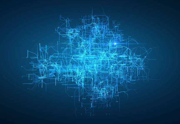 Digital connectivity, artificial intelligence and data storage concept. Glowing electronic circuit board, conductors and neural signals on a dark blue background. vector art illustration