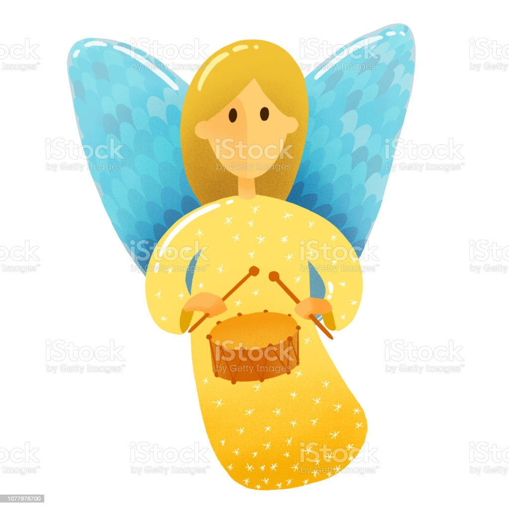 Christmas Scene Drawing For Kids.Digital Drawing Christmas Scene A Little Angel With Wings In Gold Dress Holds A Musical Instrument Drum Drawing In Kids Stile On White Background