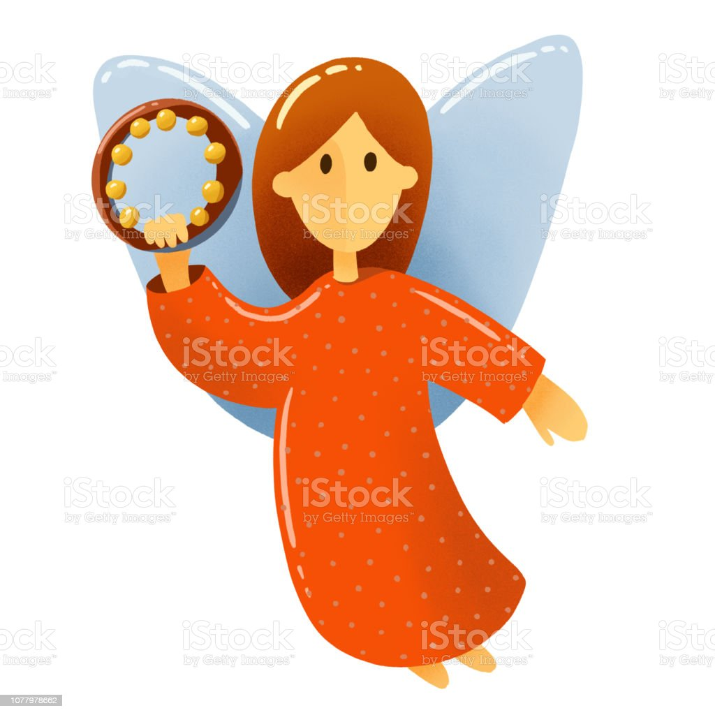 Christmas Scene Drawing For Kids.Digital Drawing Christmas Scene A Little Angel With Wings In