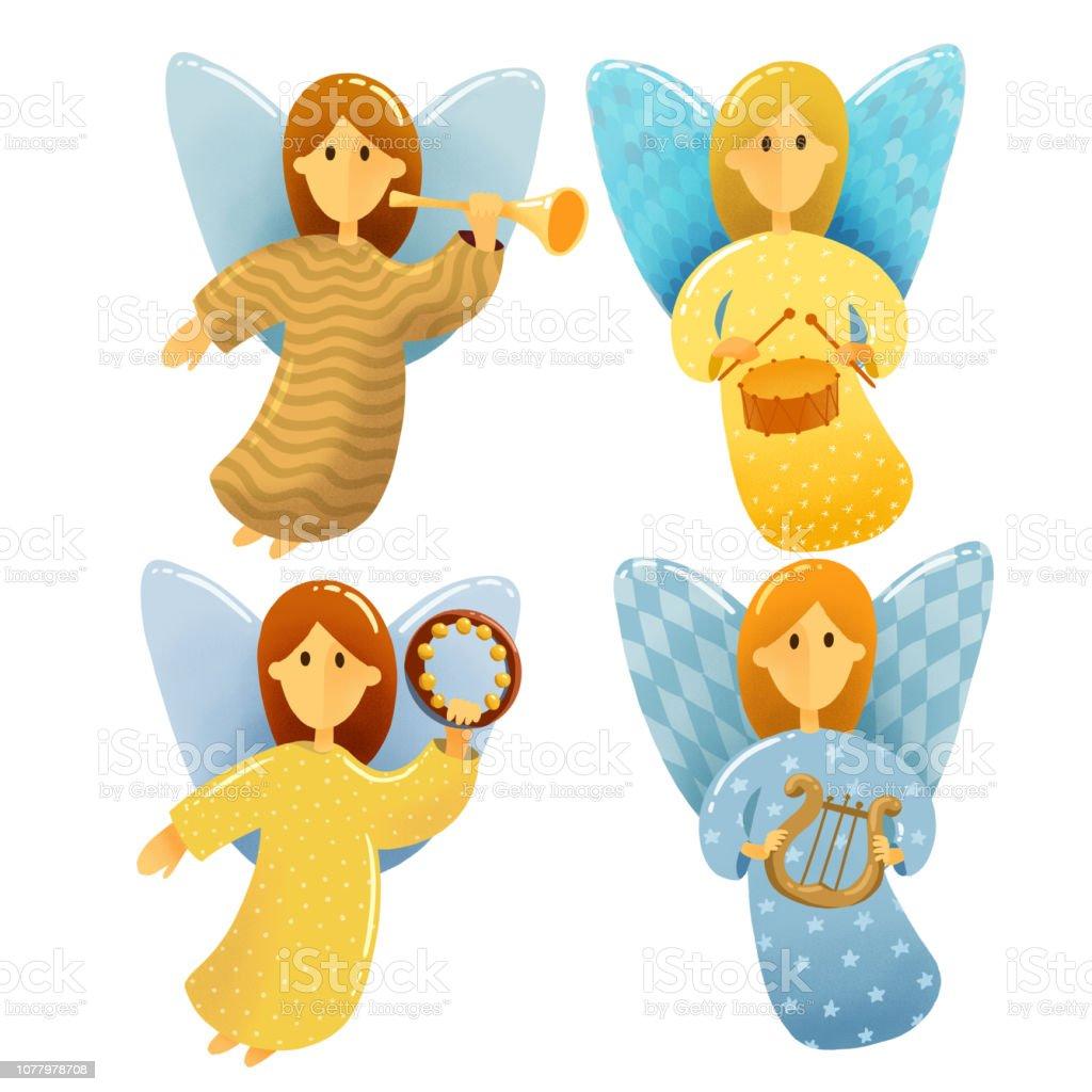 Ilustración De Escena De Navidad Dibujo Digital Set De Angelitos Con