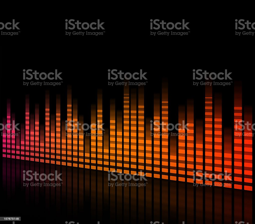 Digital equalizer - pink, orange and red color royalty-free stock vector art