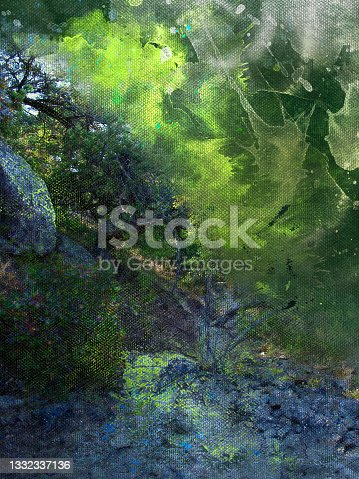 istock Digital generated watercolor painting. Green trees on sunny Euro 1332337136