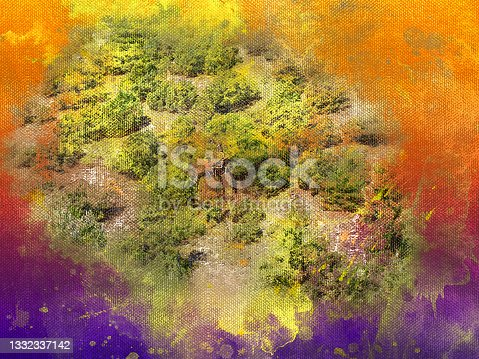 istock Digital generated watercolor painting. Green trees on sunny Euro 1332337142