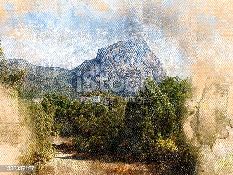 istock Digital generated watercolor painting. The village of Novy Svet 1332337127