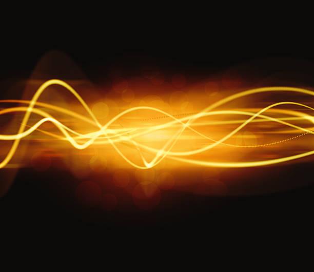 Digital Golden Waves vector art illustration