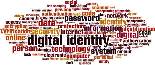 ilustraciones, imágenes clip art, dibujos animados e iconos de stock de identidad digital palabra nube - robo de identidad