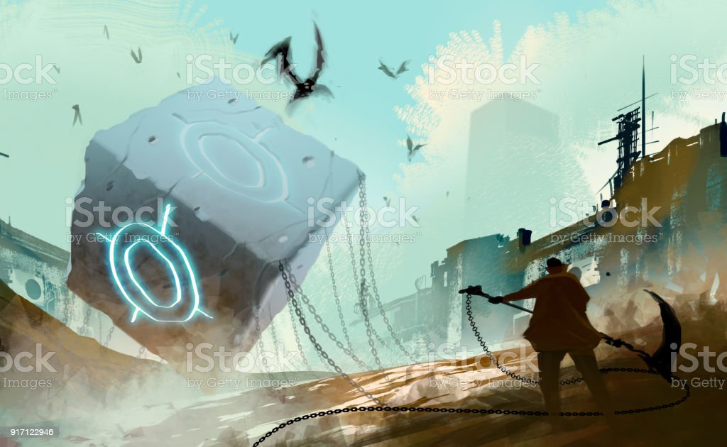 Digital illustration art painting style warrior readying to attack many fly monsters by huge weapon, the stone cube and chained is in abandoned city, sci-fi story, risk and fighting concept. vector art illustration
