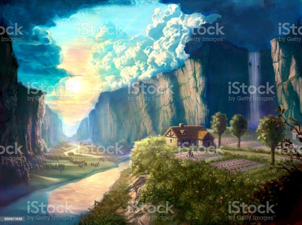 美しい夢の世界のデジタル イラスト風景小屋コテージと環境 まぶしいの