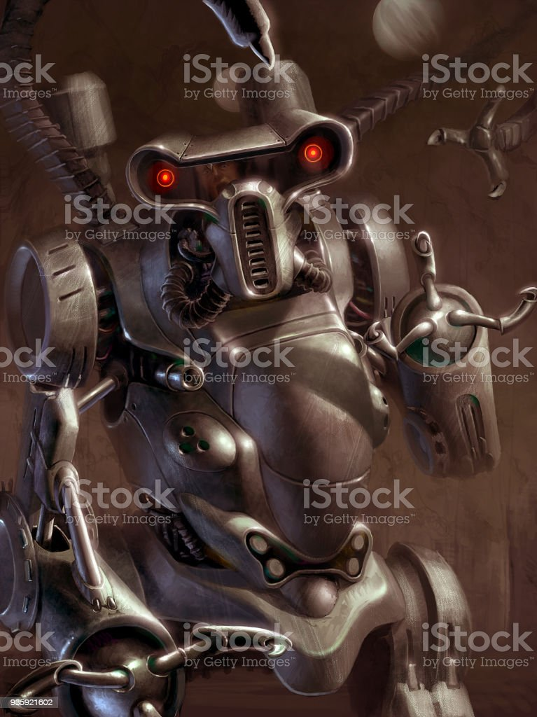 Digital Illustration Of Futuristic Science Fiction Robot Human