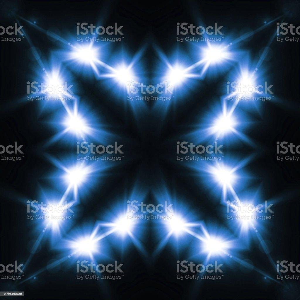 Digital Lens Flare Kaleidoscope Looks Like Snowflake With