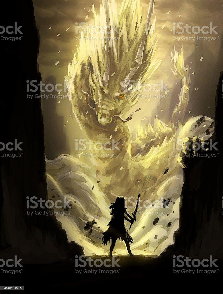 digital painting art eastern dragon vector art illustration