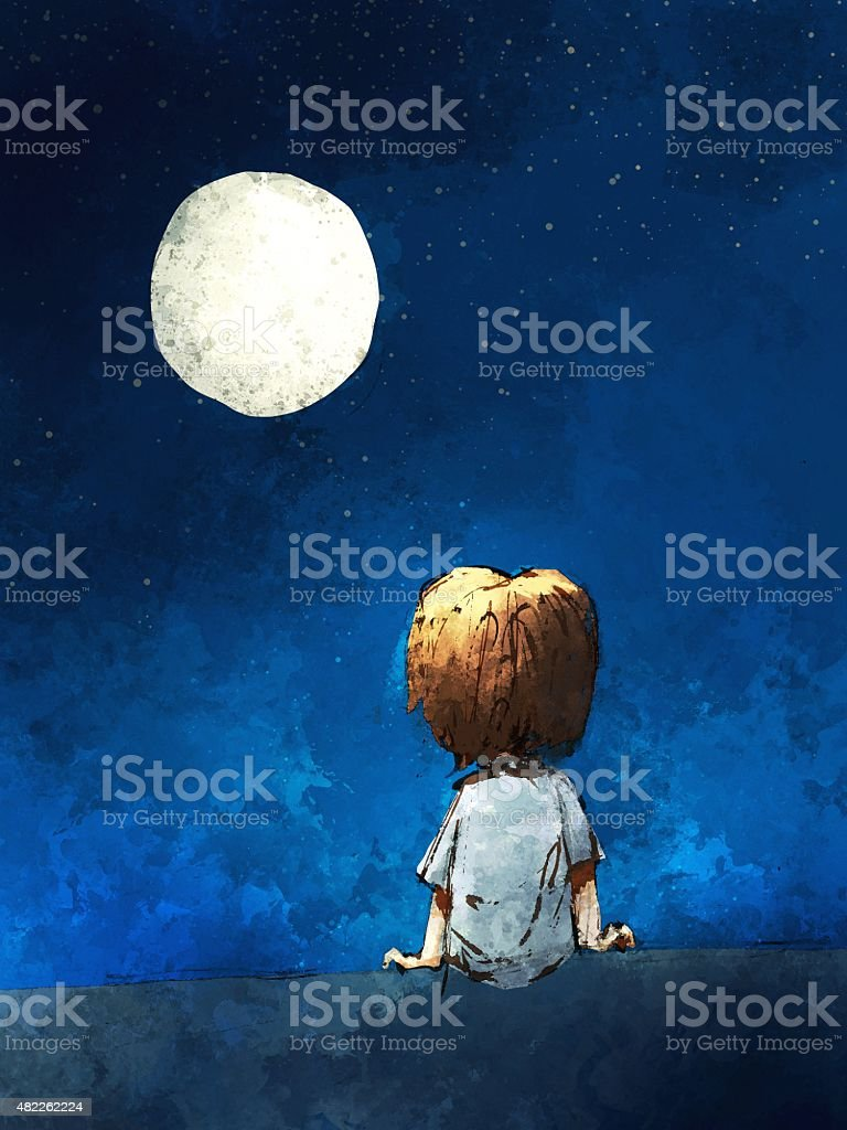 digital painting of  boy sitting lonely in the moonlight vector art illustration