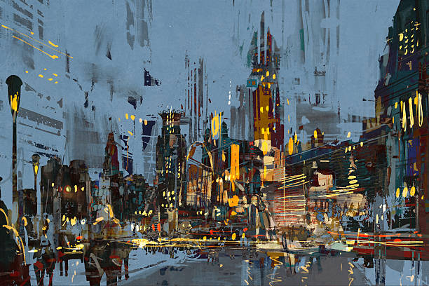 digital painting of city at night with colorful lights. - oil painting stock illustrations