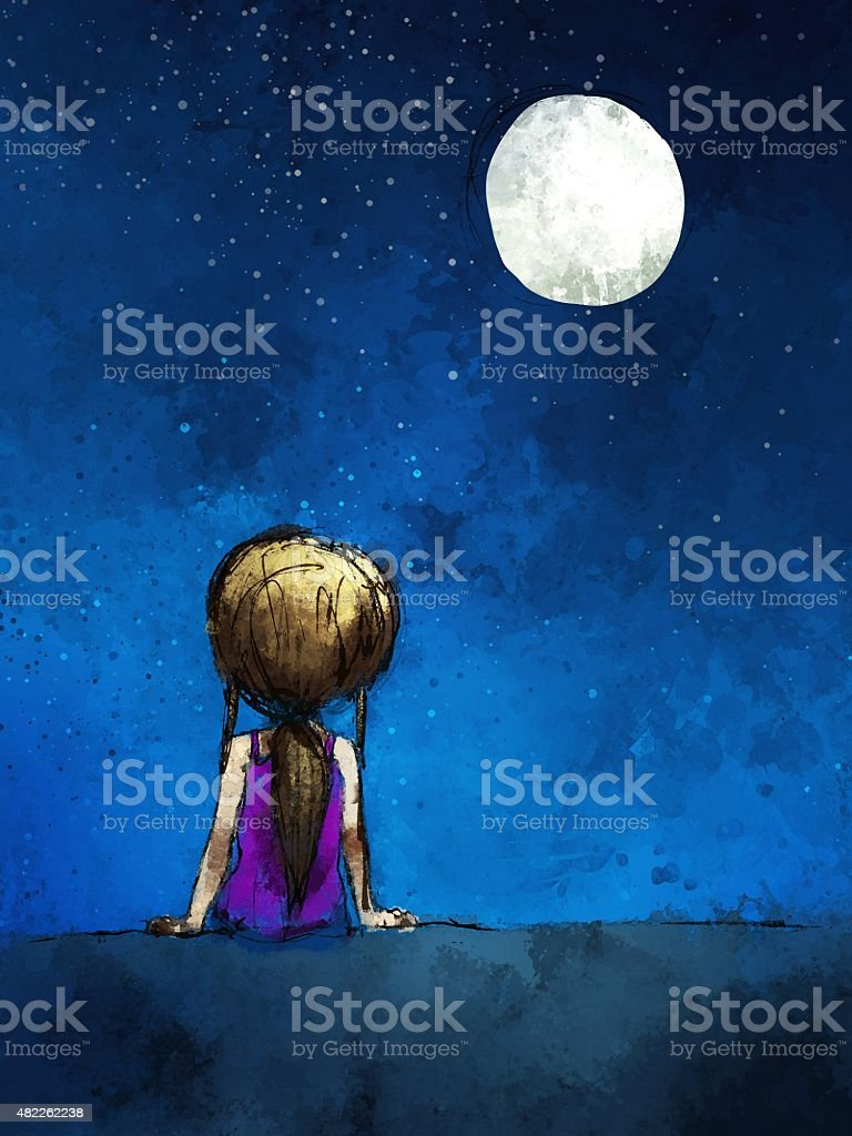 digital painting of  girl sitting lonely in the moonlight vector art illustration